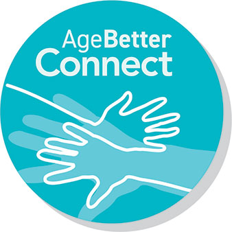 AgeBetter Connect Program: teal circular graphic with two hands