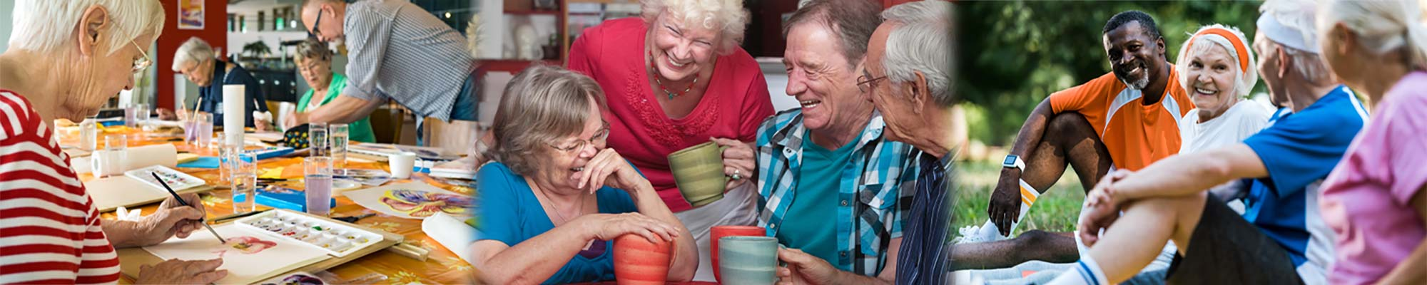 Three images of elderly people in community laughing and hanging out