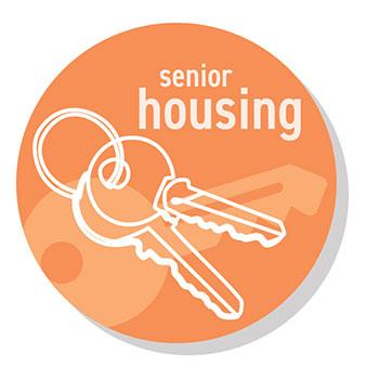 Senior Housing Icon: orange circular graphic with keys